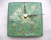Enamelled art wall clock - green flower meadow