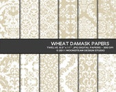 Wheat Damask Digital Paper 8.5x11 Personal or Commercial Use