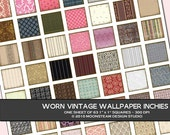 Worn Vintage Wallpaper Inchies Digital Collage Sheet, Commercial Use Instant Download