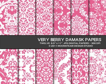 Pink damask digital papers, rose pink damask digital paper pack, rose pink damask digital scrapbooking papers