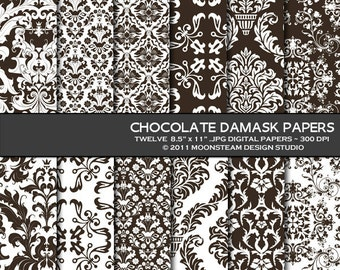 Chocolate Brown Damask Digital Paper 8.5x11 or 12x12 or A4 Personal or Commercial Use