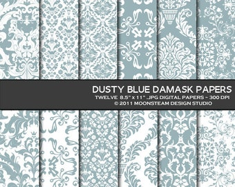 Dusty Blue Damask Digital Paper 8.5x11 or 12x12 or A4 Personal or Commercial Use
