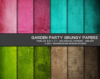 Vintage digital papers, shabby chic digital scrapbooking papers, grungy digital paper, Garden Party backgrounds