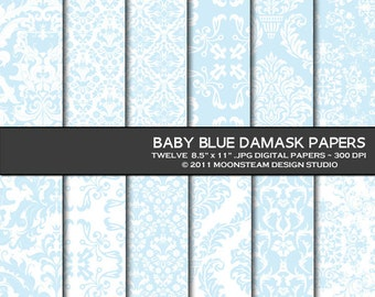 Baby blue damask digital paper, baby blue digital scrapbook paper, baby blue damask digital backgrounds 8.5x11 or 12x12 or A4