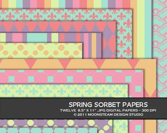 Spring Sorbet Digital Backgrounds, Pastel Digital Scrapbook Paper, 8.5x11 or 12x12 or A4, Personal or Commercial Use