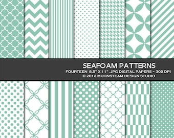 Seafoam Digital Backgrounds, Seafoam Digital Paper, 8.5x11 or 12x12 or A4, Personal or Commercial Use