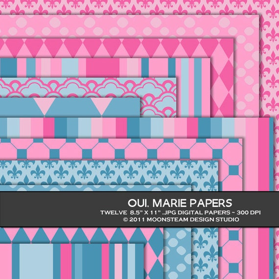 Oui Marie Digital Backgrounds, Pink and Blue Digital Scrapbook Paper, 8.5x11 or 12x12 or A4, Personal or Commercial Use