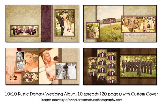 PSD Wedding Album Template RUSTIC DAMASK 10x10 10spread 20