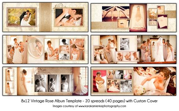 VINTAGE - 8x12 Digital Wedding Album Template - Unique 20 spread (40 page) design with custom cover
