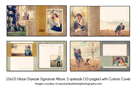 Urban Damask 12x12 Digital Wedding Guest Book Template 5