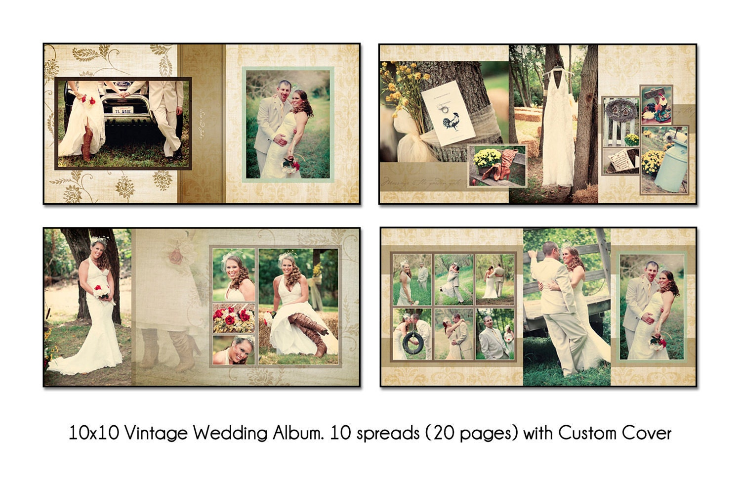 Vintage 10x10 album template 10 spread20 page design for Wedding photo album templates in photoshop