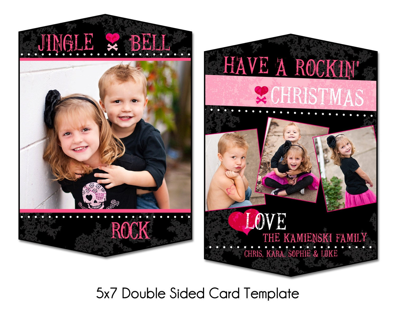 rockin christmas 5x7 double sided christmas card template. Black Bedroom Furniture Sets. Home Design Ideas