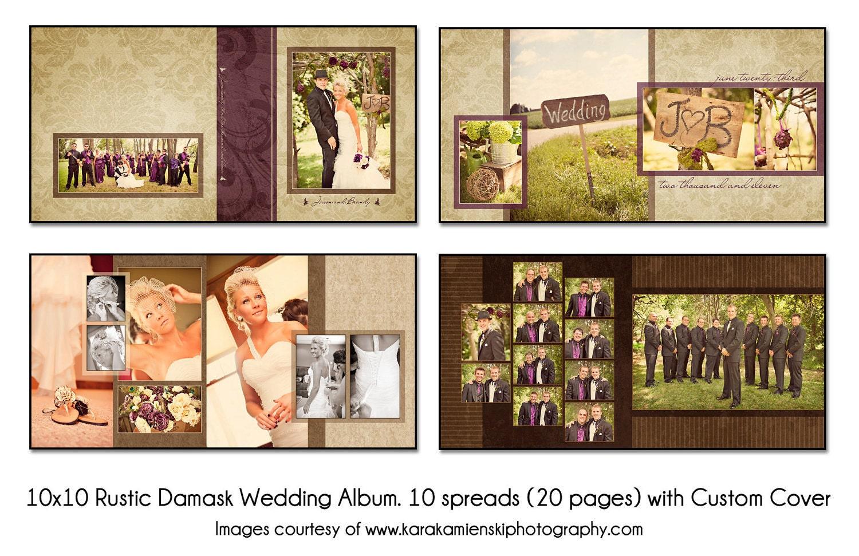 psd wedding album template rustic damask 10x10 10spread 20. Black Bedroom Furniture Sets. Home Design Ideas