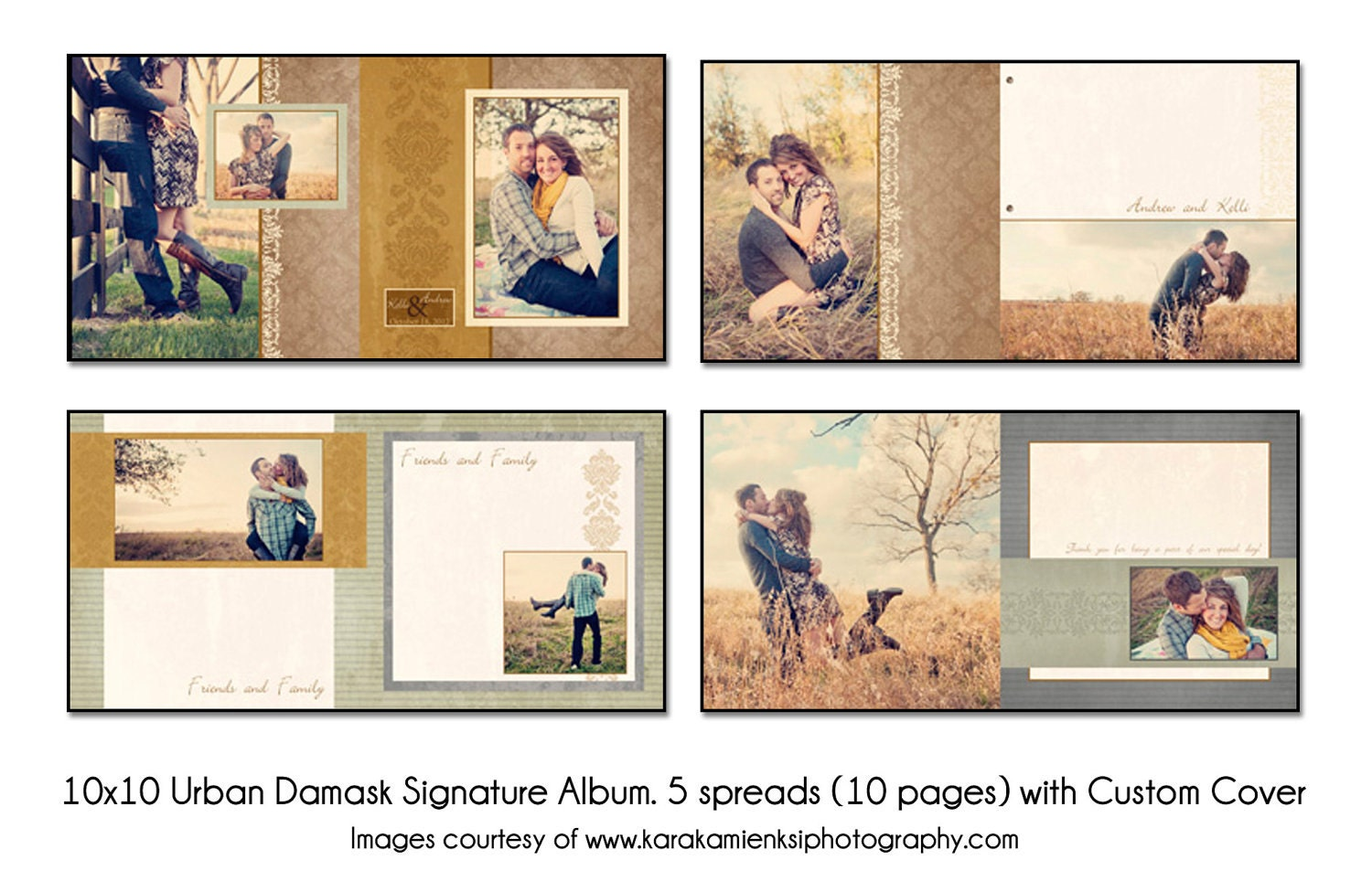 Urban Damask 10x10 Digital Wedding Guest Book Template 5