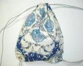 Drawstring Backpack - beach shells, blue, white & grey