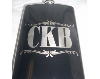 Personalized Powder Coated 8oz Flask -Black