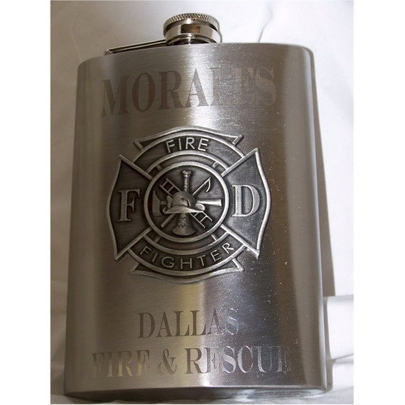 Custom Engraved 8oz Firefighter Flask