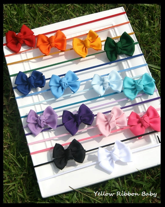 Set of three Baby Bows on Headbands- you choose color/ Baby Bow/ toddler headband/ hair bow
