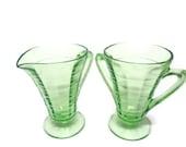Depression Glass Green Block Optic Cream and Sugar Set