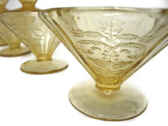 Depression Glass Madrid Sherbert or Dessert Cups Amber