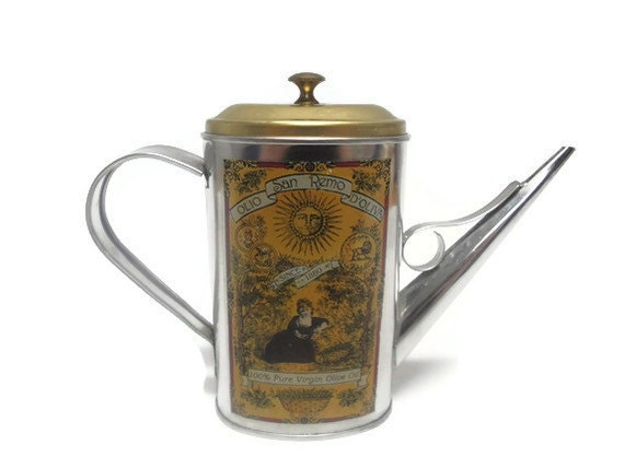 RESERVED for Cassandra for June 4th - Olive Oil Pouring Tin