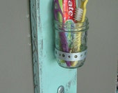 Handmade wall toothbrush holder or vase with key hook light turquoise