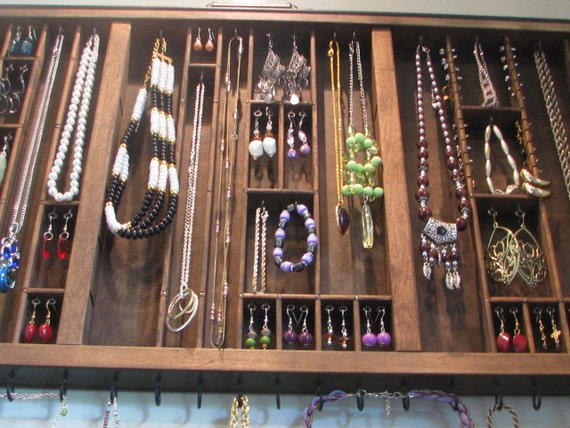Wall hanging printers drawer jewelry display