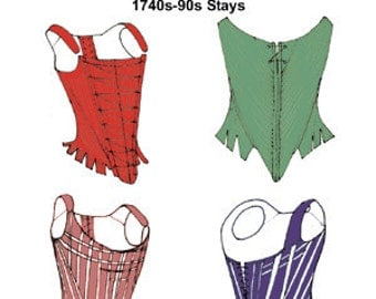 RH833D -- Downloadable 1740s-1790s Stays Pattern