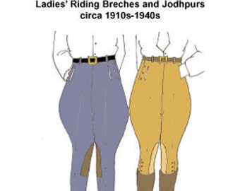 RH1014 -- 1910s-1940s Ladies' Riding Breeches or Jodhpurs Pattern