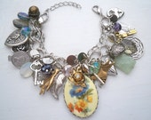 1970's Flower Cameo Double Chain Super Charmer