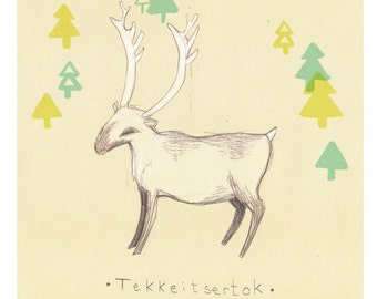 A5 illustration print // Inuit caribou // Inuit myth figures /// 6x8