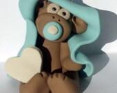 Cake topper ornament blue baby monkey