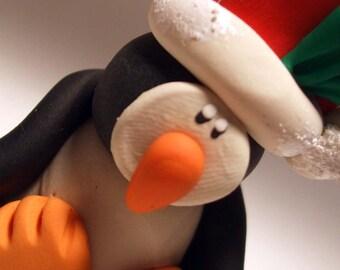 Christmas ornament, santa penguin,  penguin polymer clay, handmade ornament,