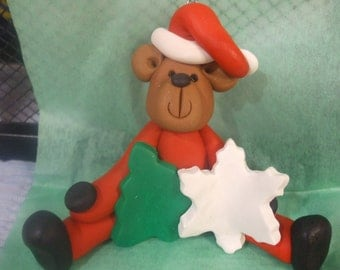 Polymer clay Christmas Ornament, Christmas ornament bear holding a star and a tree, Polymer Clay , 2016, hand sculpted