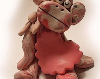 Polymer clay Christmas Ornament,Monkey Ornament, polymer clay Christmas ornament, hand sculpted Polymer Clay , 2016, hand sculpte