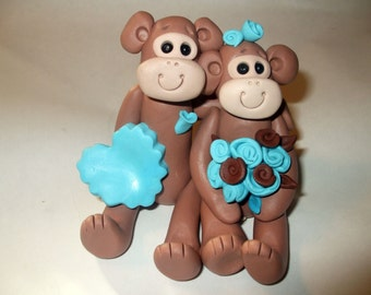 Wedding cake topper custom designed for you with monkeys, Polymer Clay  2016