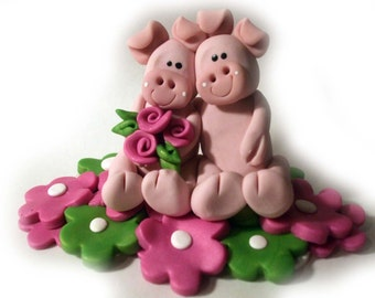 Pigs, wedding cake topper pink pigs,  polymer clay pigs, and flowers custom cake topper, 3.5 inches