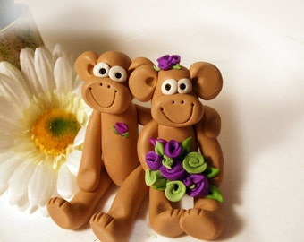 Wedding cake topper monkeys with green and violet flowers, Polymer Clay  2016