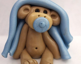 Polymer clay, Christmas ornament, monkey baby with pacifier, baby's first Christmas, Polymer Clay  2016