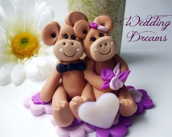 Wedding  cake topper monkeys made to order, Polymer Clay  2016
