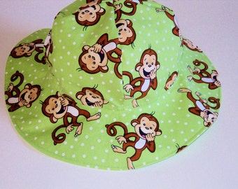Baby Sun Hat, Boy Or Girl Sun Hat, Summer Hat, Monkey Baby Hat, Summer Hat, Toddler Cotton Hat, Wide Brim Foppy Beach Hat, Made To Order