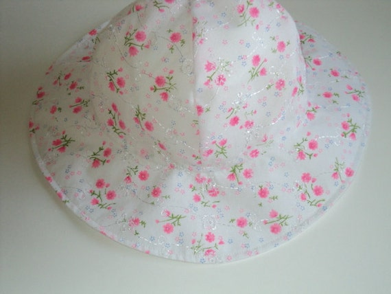 CUSTOM ORDER For Megan And Anna -- Floral Eyelet And Elephant Sun Hat Size 2 to 4 Years.