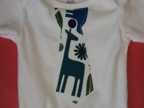BABY BOY BODYSUIT With Giraffe Tie - Ready To Ship - Size 12 Months - Baby Tie Bodysuit - Baby Shower - Alexander Henry 2 D Zoo