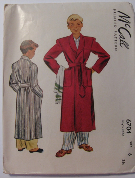 Vintage McCall Pattern 6704 Boy's Robe  Dated 1946 Size 6