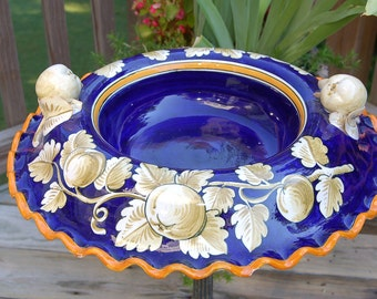 Italian Custom Hand Painted Cobalt Blue and Ivory Fancy Serving Bowl