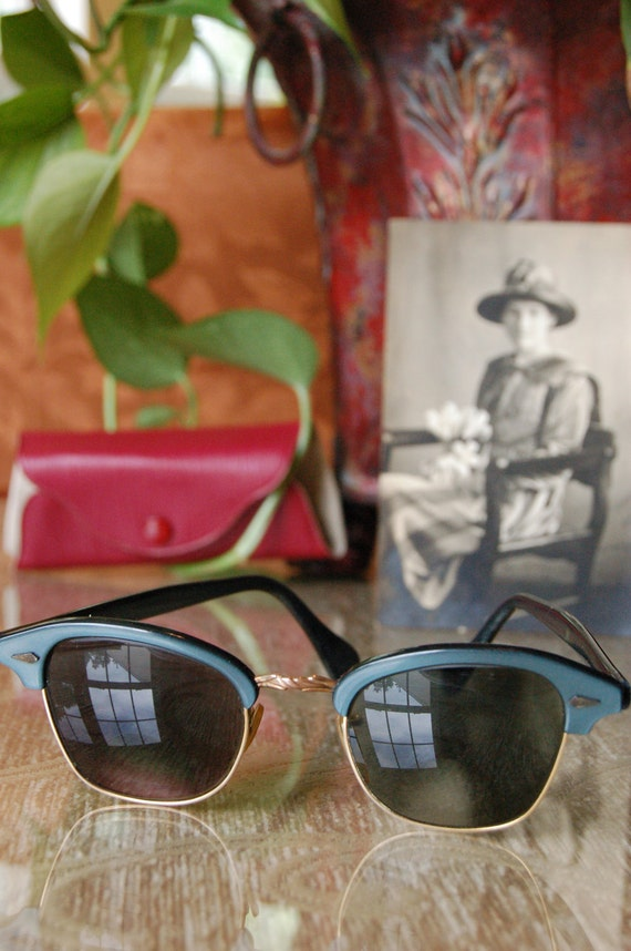 Vintage Blue Frame Cat eye Sunglasses 12K gf