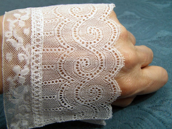 Antique FRENCH LACE CUFFS Pair 19thC Valencienne Heirloom tulle net Exquisite Design