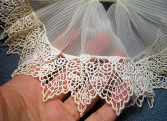 Antique FRENCH PLEATED Gauze Schiffli Lace Lg BOW Dickie Great for Mignonette Bleuette Doll Skirts