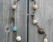Ancient shore - necklace with ammonite, aquamarine and agate beads