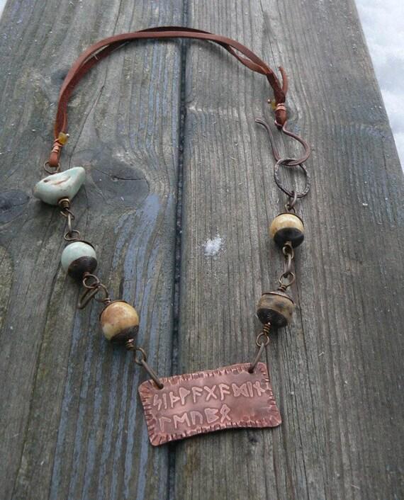 Wayfarer rune amulet necklace with ceramic bird and beads